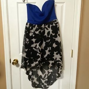 Strapless High Low Royal Blue With Flowers Dress